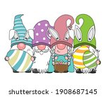 happy easter card. gnomes with... | Shutterstock .eps vector #1908687145
