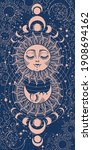 modern mystical card sun with... | Shutterstock .eps vector #1908694162