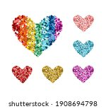Set Of Glitter Color Hearts....