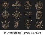 esoteric symbols. vector thin... | Shutterstock .eps vector #1908737605
