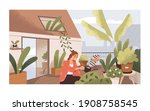 woman watering plants at home... | Shutterstock .eps vector #1908758545