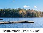 View of The Lake Kuusijarvi in autumn, Vantaa, Finland
