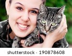 portrait of a young woman and... | Shutterstock . vector #190878608