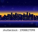 futuristic night city.... | Shutterstock .eps vector #1908827098
