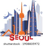 seoul culture travel night set  ... | Shutterstock .eps vector #1908835972