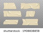 sticky tape with shadow. strip... | Shutterstock .eps vector #1908838858