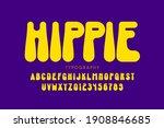 hippie style font design  1960s ... | Shutterstock .eps vector #1908846685