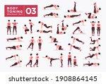 women workout set. women doing... | Shutterstock .eps vector #1908864145