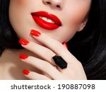 part of female face with red... | Shutterstock . vector #190887098