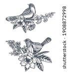 two vector bouquets of doodle...   Shutterstock .eps vector #1908872998