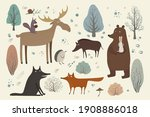 Vector Set With Forest Animals...