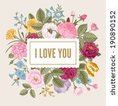 vintage floral vector card with ...   Shutterstock .eps vector #190890152