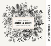 Vintage elegant wedding invitation with summer flowers. Black and white vector illustration.