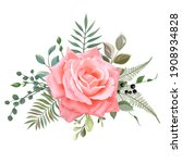 beautiful rose flower isolated... | Shutterstock .eps vector #1908934828