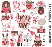 valentine's day holiday clipart ... | Shutterstock .eps vector #1908991015