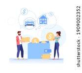 vector cartoon flat happy... | Shutterstock .eps vector #1909002352