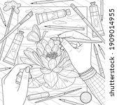 drawing lotus.coloring book... | Shutterstock .eps vector #1909014955