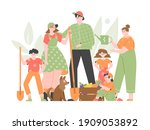 family of farmers stands... | Shutterstock .eps vector #1909053892