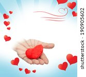 background with hand and heart | Shutterstock . vector #190905602