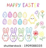 chalk easter symbls collection. ... | Shutterstock .eps vector #1909088335