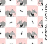 seamless checked pattern with... | Shutterstock .eps vector #1909111402