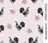 seamless capercaillie bird... | Shutterstock .eps vector #1909116052