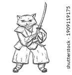 Cat Holding Samurai Sword And...