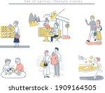 lifestyle scenes of various... | Shutterstock .eps vector #1909164505
