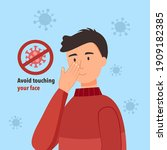 avoid touching your face to... | Shutterstock .eps vector #1909182385