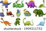 set of different dinosaur...   Shutterstock .eps vector #1909211752