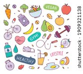 healthy lifestyle cute doodle... | Shutterstock .eps vector #1909321138