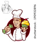 illustration of a happy chef... | Shutterstock .eps vector #190932896