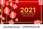 happy chinese new year 2021... | Shutterstock .eps vector #1909350118