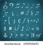 music notes and signs hand...   Shutterstock .eps vector #190935692