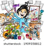watercolor illustration with a...   Shutterstock . vector #1909358812