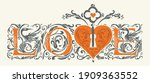 love  lettering  heart  key ... | Shutterstock .eps vector #1909363552