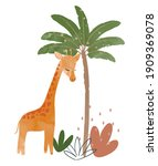 cute baby giraffe nursery... | Shutterstock .eps vector #1909369078