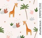 cute baby giraffe seamless... | Shutterstock .eps vector #1909371232