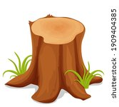 tree stump  chopped trunk with...