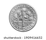 One Dime Coin Isolated On White ...