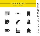industrial icons set with roof  ...