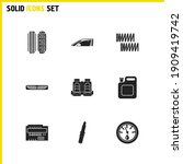 car parts icons set with...