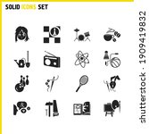 interests icons set with making ...