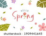 hello spring card. trendy... | Shutterstock .eps vector #1909441645