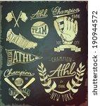 vintage baseball label set | Shutterstock .eps vector #190944572
