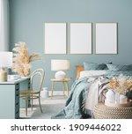 Blue Scandinavian Bedroom With...