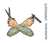 barbershop vintage concept with ... | Shutterstock .eps vector #1909552675