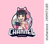 cute stylish gamer streamer... | Shutterstock .eps vector #1909571185