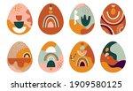 boho easter concept design ... | Shutterstock .eps vector #1909580125