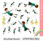 a set of schoolgirl floating in ... | Shutterstock .eps vector #1909582582